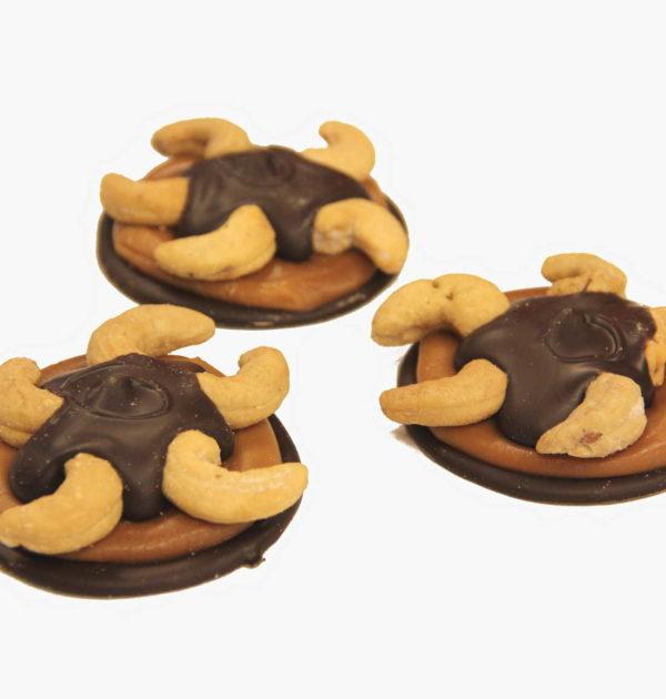 Dark Chocolate Cashew Turtles.