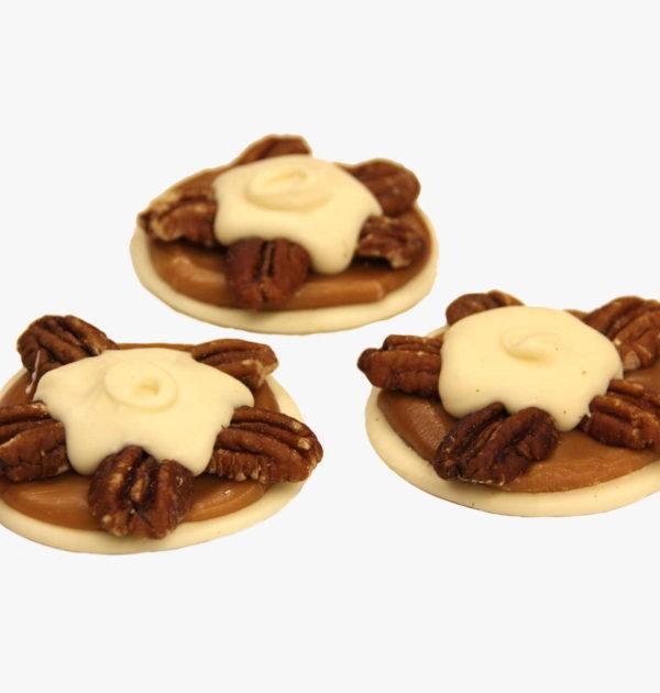 White Chocolate Pecan Turtles.